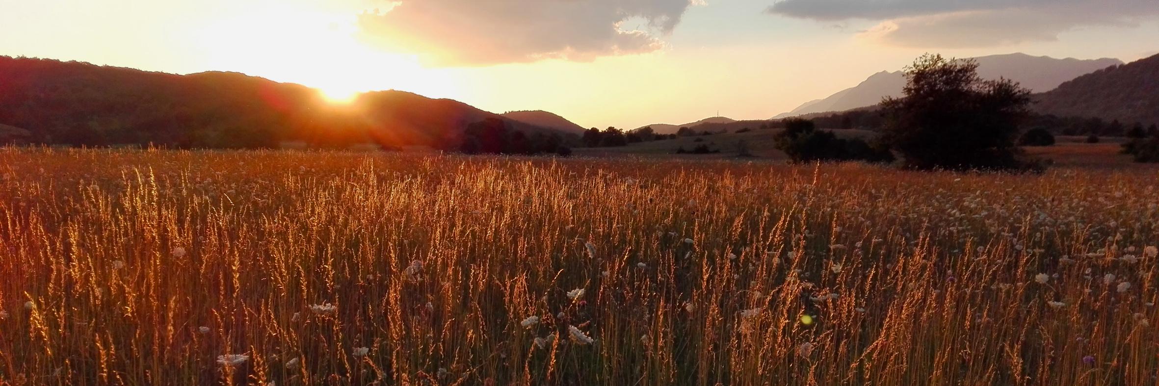 tramonto sulla majella in estate dopo escursione di avvistamento fauna al pinecube